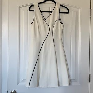 White piped dress